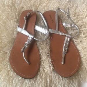 Jeweled sandals with ankle straps